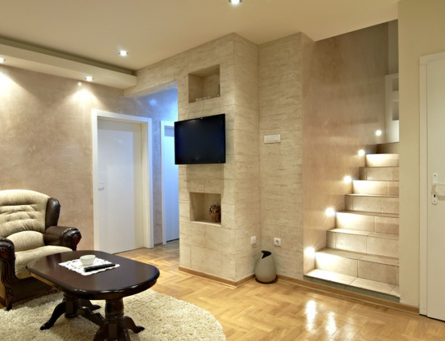 living room interior with stairs