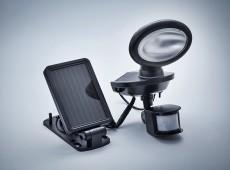 Solarna lampa LED z czujnikiem ruchu i zmierzchu 2x0,5W, osobny panel słoneczny czarna [S0008B]